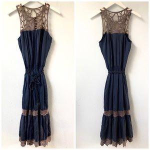 Blue and gray sleeveless mesh boho maxi dress